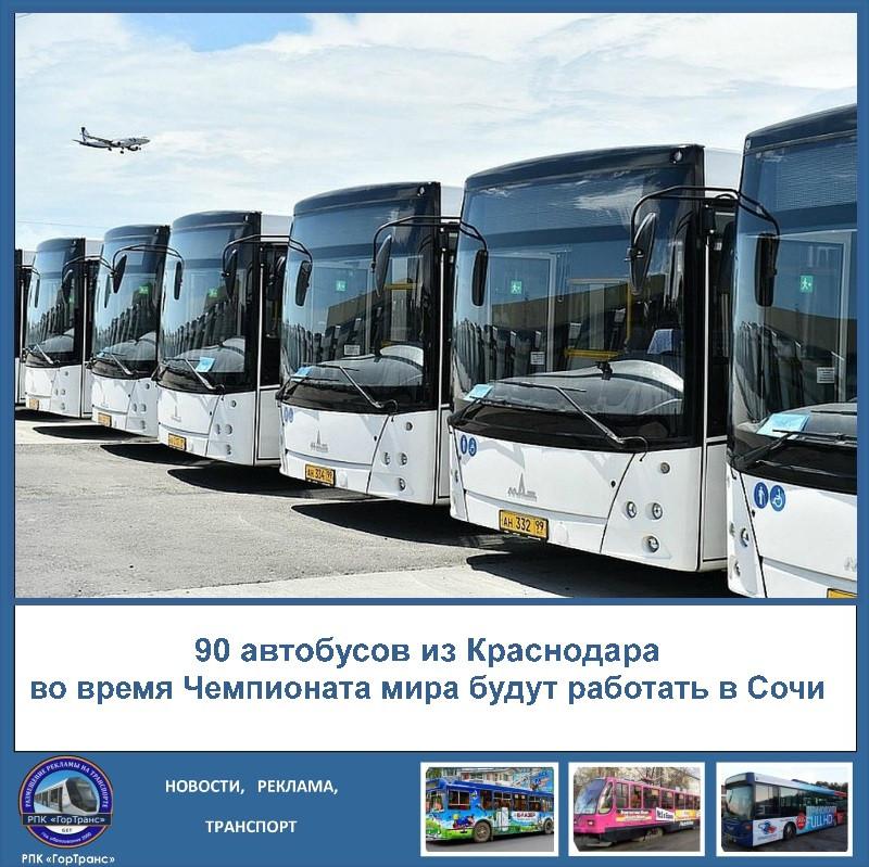 90 автобусов из Краснодара будут работать в Сочи