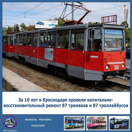 За 10 лет в Краснодаре провели капитально-восстановительный ремонт 87 трамваев и 87 троллейбусов