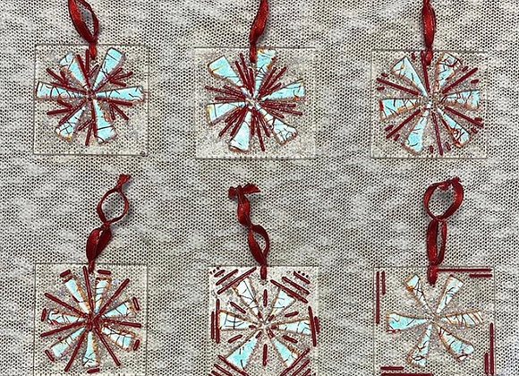 CUSTOM Surprise Patterns - Red and Silver Blue Ornaments