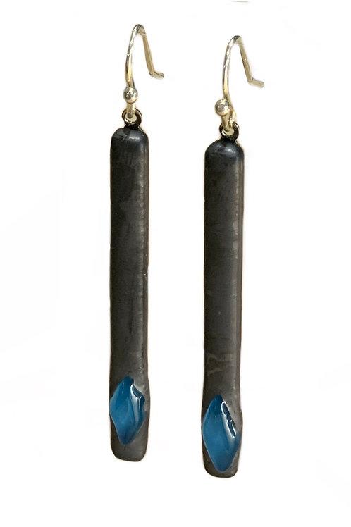 Steel Blue Diamond Bar Earrings