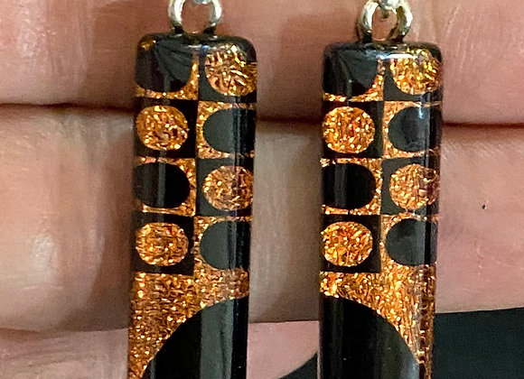 Orange and Black Half Moon Dot Earrings