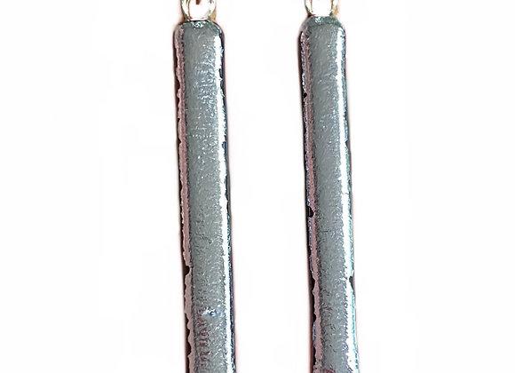 Raw Silver Bar Earrings