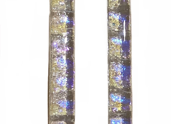 Violet Yellow Clear Bar Earrings