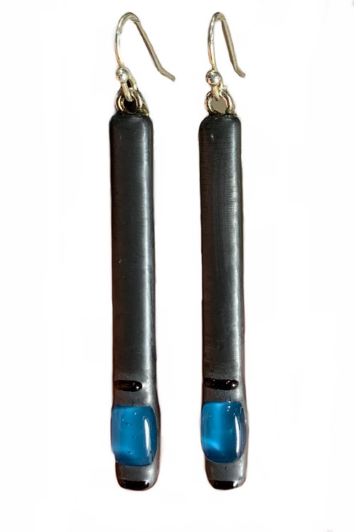 Steel Blue Bar Earrings