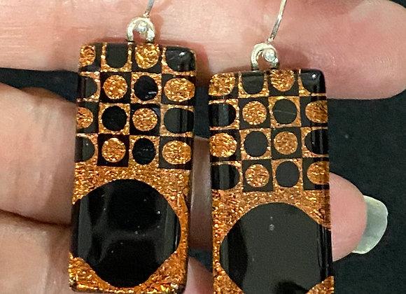 Orange and Black Long Dot Earrings