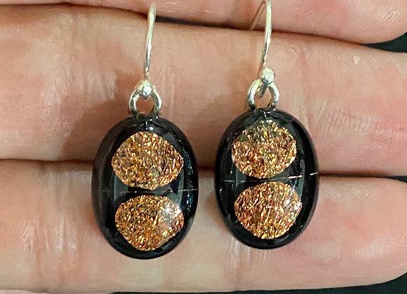 Orange and Black Double Dot Earrings