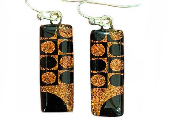 Orange and Black Quarter Moon Earrings