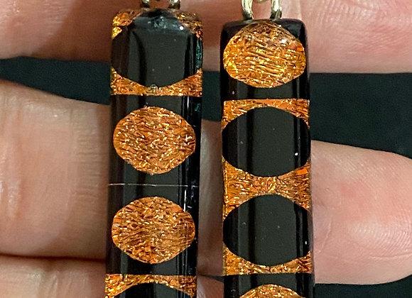 Orange and Black Inverted Moon Earrings