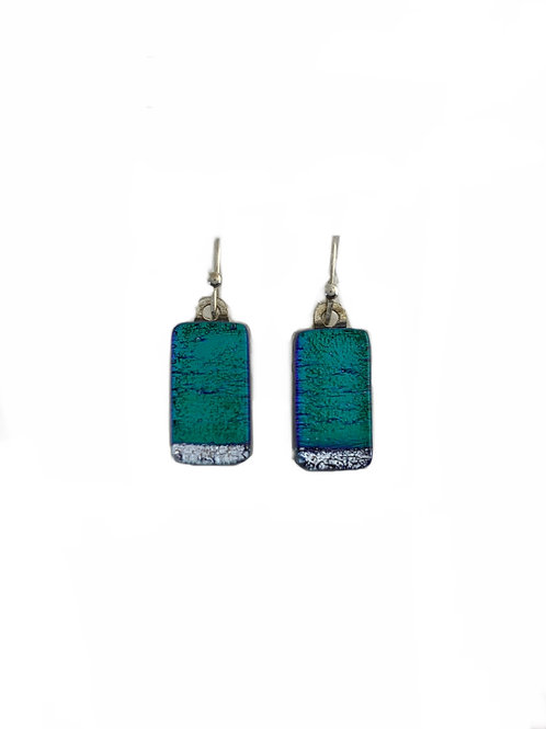 Silver Tipped Emerald Green Earrings