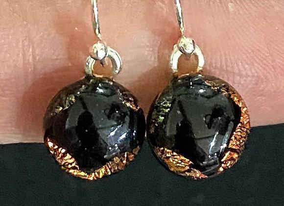 Orange and Black Silver Drop Earrings
