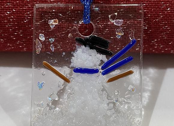 Mini Snowman Ornament Blue