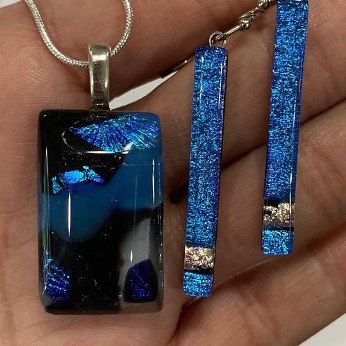 Blue Winged Granite Pendant and Earrings