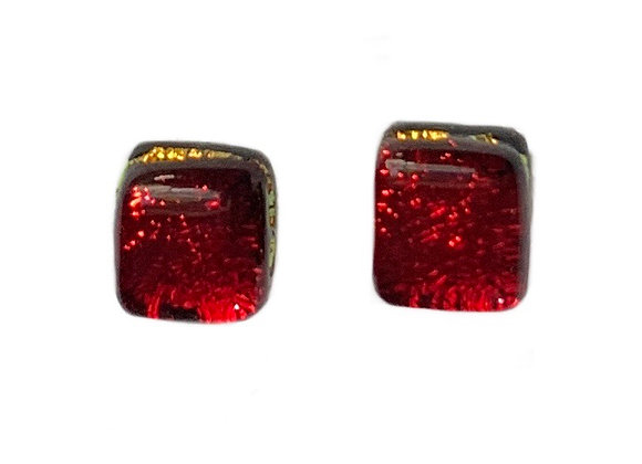Red with Gold Stud Earrings