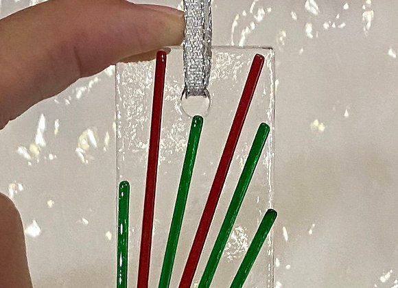 Red and Green Linear Christmas Ornament 2