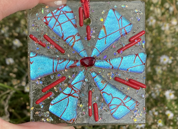 Red and Silver Blue Christmas Ornament 4