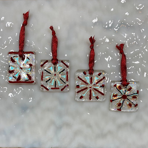 Silver Blue, Red and Black Snowflake Ornaments, Set of 4