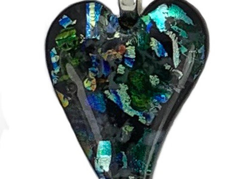 Green Confetti Shaped Heart Pendant