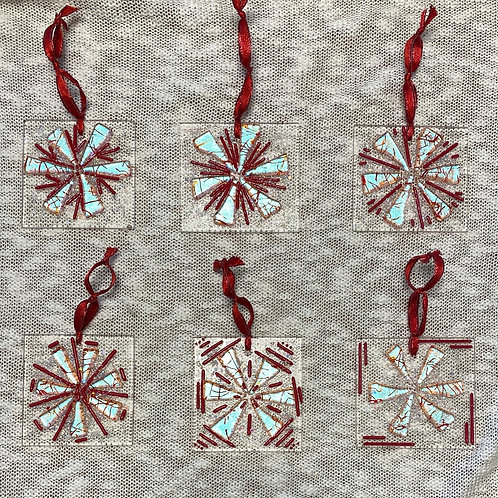 Red and Silver Blue Artisan Christmas Ornaments - 1 each