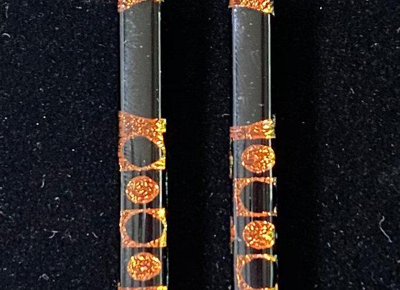 Orange and Black Bar Earrings