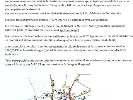 IMPORTANT : travaux voirie Bourg de Dangeau