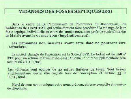 VIDANGES FOSSES SEPTIQUES 2021