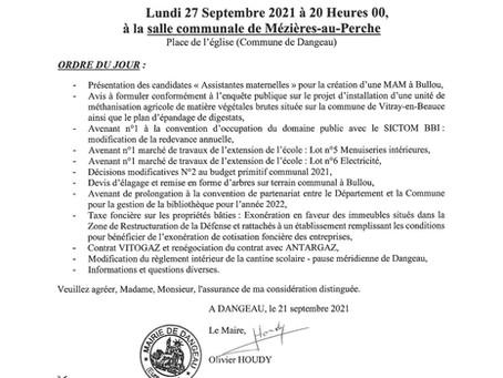 Conseil Municipal du 27 septembre 2021