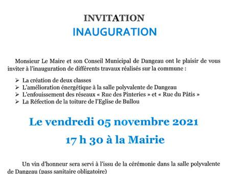 Invitation Inauguration le 5 novembre 2021