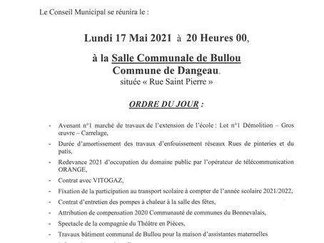 REUNION DE CONSEIL DU 17 MAI 2021