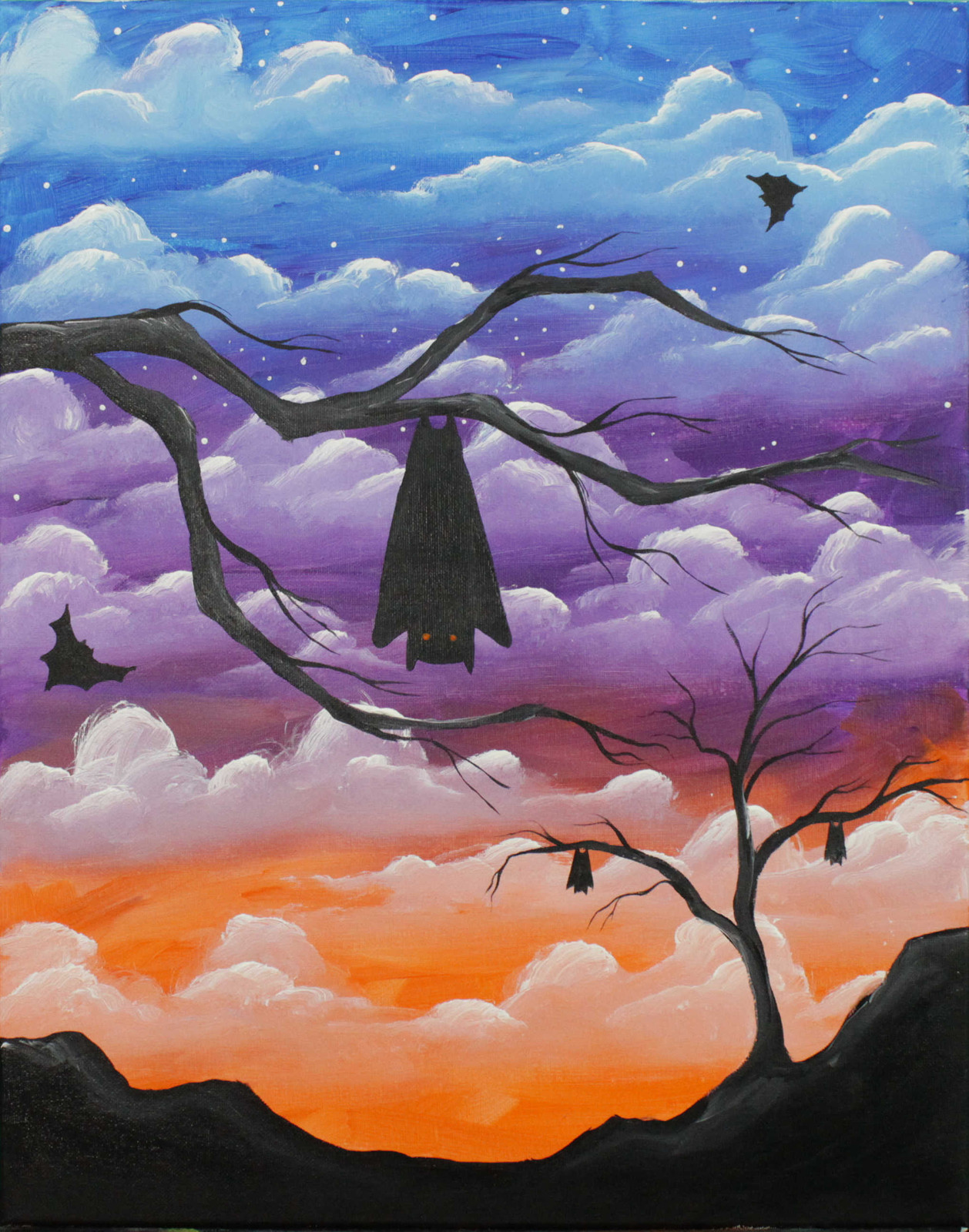 some fun and simple bats against a sky full of clouds 2016 by jane font all rights reserved