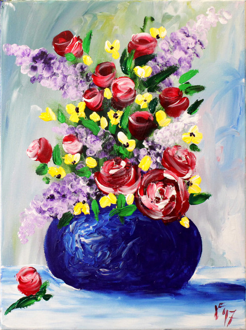 this is the orginal finger painted spring flowers in a vase painting from my youtube tutorial - Vase Painting