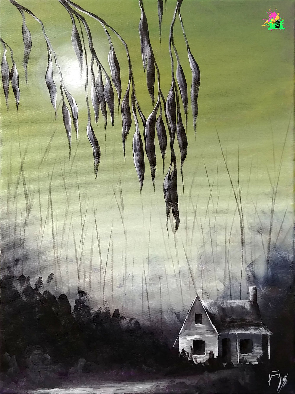 Haunted Moonglow - Painting with Jane Original Artwork