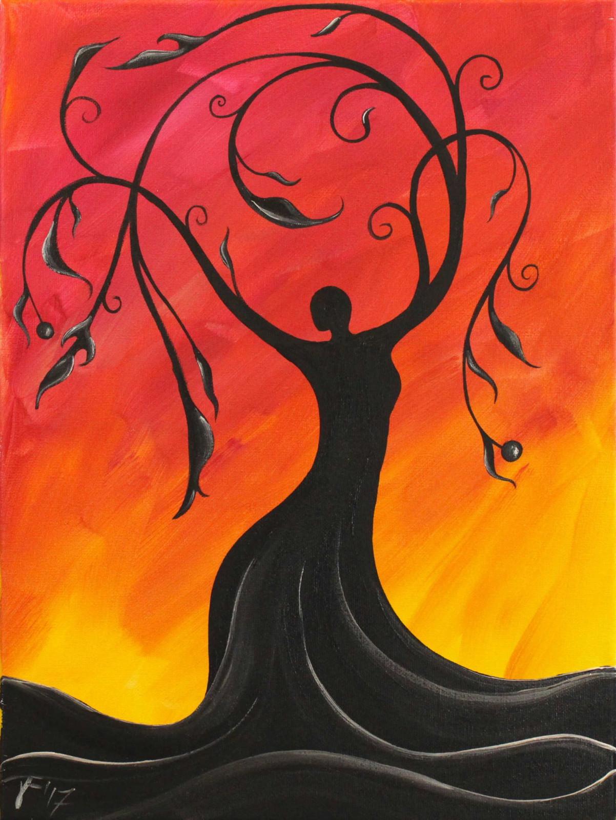 Whimsical Tree Goddess Spring Flowers