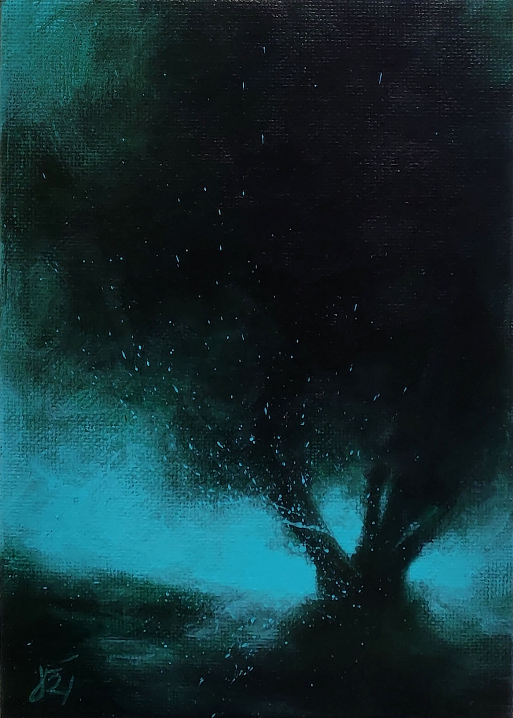 Moody dark tree on a glowing teal background.
