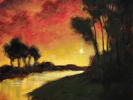 Intuitive Painting #5 - Sunset on the River