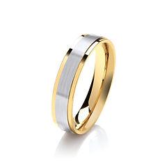 platinum white gold palladium wedding ring stepped edges yellow gold  gents men man