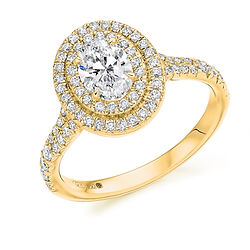 double halo yellow gold oval diamond engagement ring dress proposal swindon wiltshire
