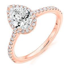 rose gold engagement ring diamond pear shape halo cluster vintage design