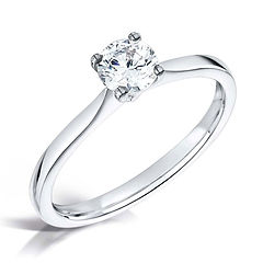 classic 4 claw traditional engagement ring round brilliant cut platinum white gold