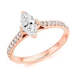 rose gold marquise diamond engagement ring bespoke proposal cardiff bristol swindon