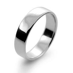platinum white gold palladium 5mm  slight court mens man wedding ring