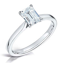 emerald cut solitaire platinum white gold single stone traditional 4 claw classic
