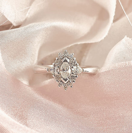 white gold diamond ring, marquise cluster ring, bespoke engagement ring