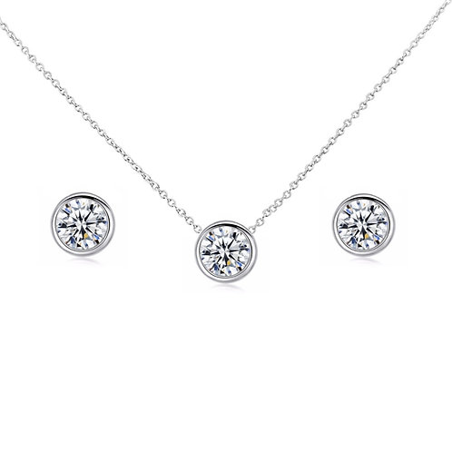 Timeless matching Round Rubover Cubic Zirconia Set