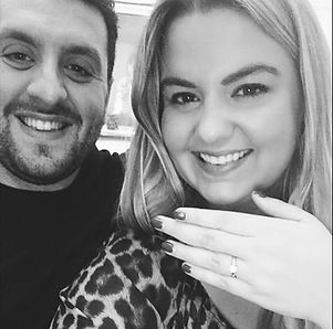 happy couple engaged she said yes proposal holly robinson jewellery engagement ring