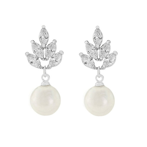 Vintage Feathered Simulated Pearl & Cubic Zirconia Earrings