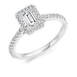 emerald cut cluster halo delicate skinny band engagement ring