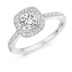 cushion diamond platinum white gold halo cluster vintageengagement ring proposal wiltshire bespoke