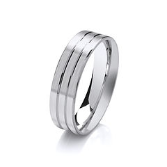 platinum white gold palladium wedding ring two grooves matt finish gents men man