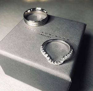 platinum bespoke wedding rings shaped to fit diamond holly robinson jewellery