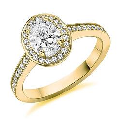 Oval vinatge halo grain set yellow gold traditional design claw set engagement ring proposal swindon